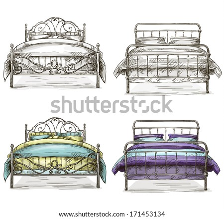set of beds drawing sketch style - stock vector