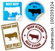 Set of beef meat labels and stamps on white, vector illustration - stock vector