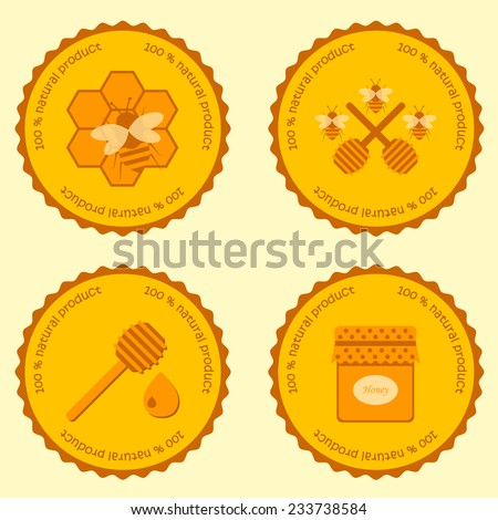 Set of beekeeping or honey emblems for your design - stock vector
