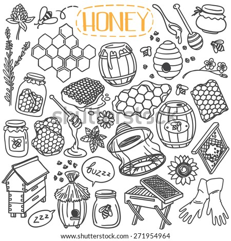 Set of beekeeping theme doodles, simple hand drawn sketch style vector illustrations isolated over white background - stock vector