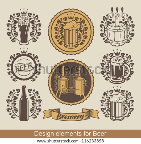 set of beer emblem with laurel wreath - stock vector