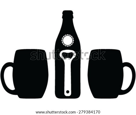 set of beer glasses and beer bottle cap and beer opener vector background wallpaper stock. Black Bedroom Furniture Sets. Home Design Ideas