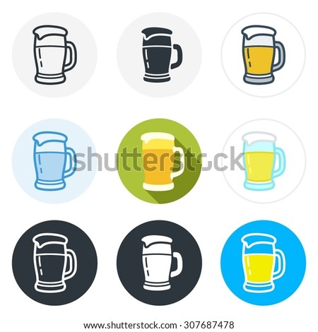 Set of beer icons in different styles isolated on white background. - stock vector