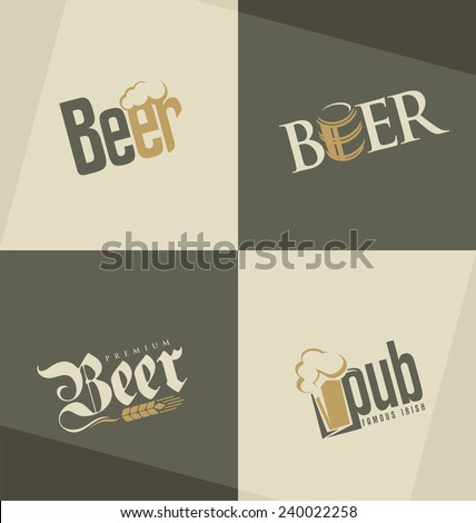 Set of beer logo design templates. Creative typography concepts for pub or tavern. Brewery labels collection. - stock vector