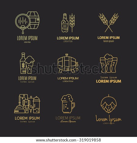 Set of beer logotypes - beer mugs, beer bottles, barrels and brewing process. Modern logo collection for all kinds of beer design. Octoberfest icon series. Clean and modern line style vector art.