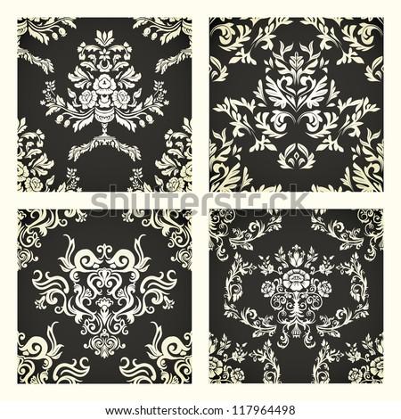 Set of beige damask patterns on black background - stock vector