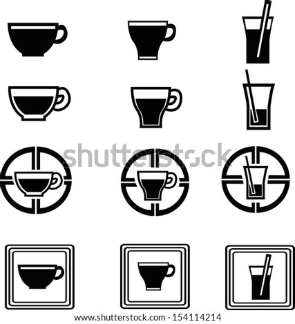 set of beverage icons - stock vector