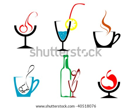Set of beverages and drinks symbols for design - abstract emblem or logo template. Jpeg version also available - stock vector