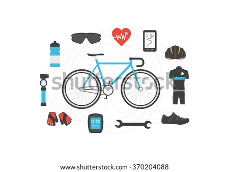 set of bicycle accessories on white background - stock vector