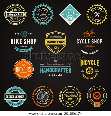 Set of bicycle graphics and logo design emblems - stock vector