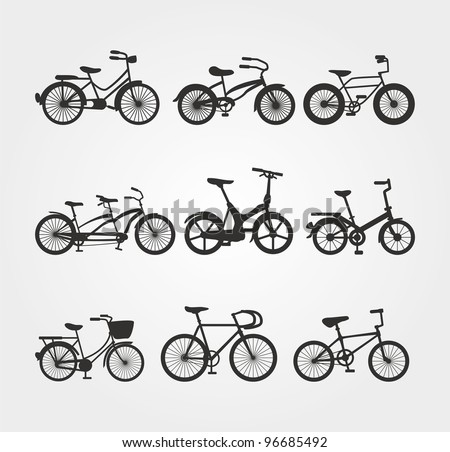 Set of Bicycle Vector Silhouettes - stock vector