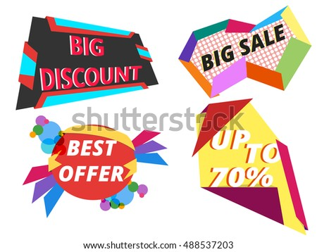 Set of big discount, best offer and sale banners. Vector illustrations.