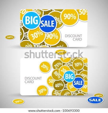 Set of big discount cards - with place for your text - stock vector