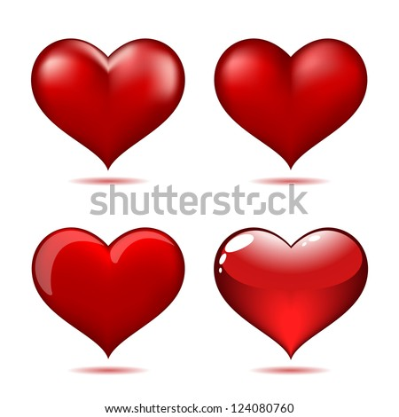 Set of Big Red Hearts, Vector Illustration - stock vector