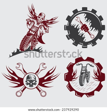 set of bikers theme emblems with skull,flames and wrenches - stock vector