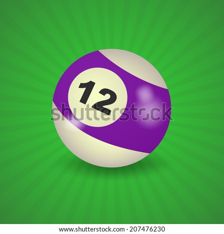 set of billiard balls, billiards, ball number 12