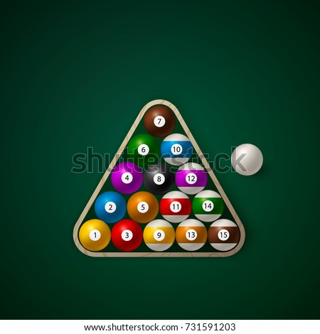 Set Billiard Balls On Wooden Rack Stock Vector Shutterstock - How to rack a pool table