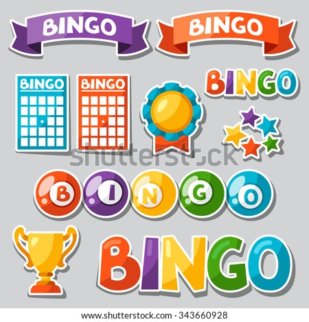 Set of bingo or lottery game with balls and cards. - stock vector