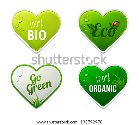 Set of bio, eco, organic heart sticker elements - stock vector