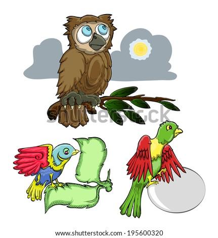 set of Bird cartoon isolated on white - stock vector