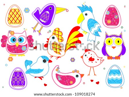 Set of birds for kids - stock vector