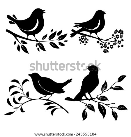 Set of birds silhouettes on a branch - stock vector