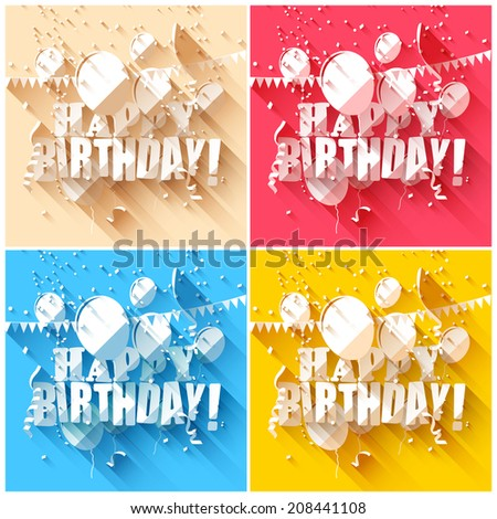 Set of birthday backgrounds in flat design style  - stock vector
