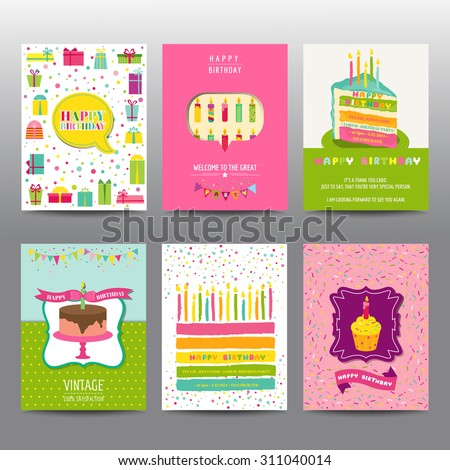 Set of Birthday Brochures and Cards - colorful layouts - in vector - stock vector