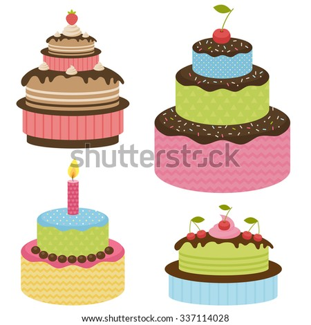 Set of birthday cakes - stock vector