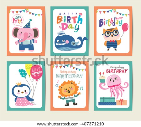 Set of birthday card with cute animals - stock vector