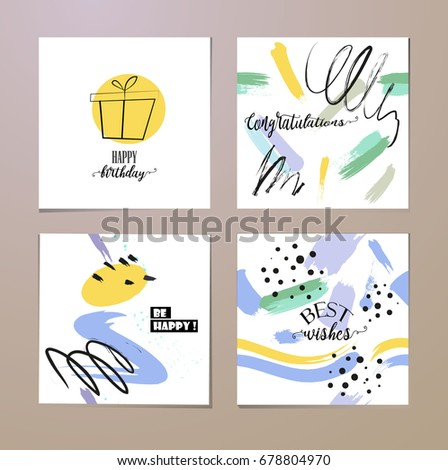 Set birthday creative greeting cards design stock vector 678804970 set of birthday creative greeting cards design m4hsunfo