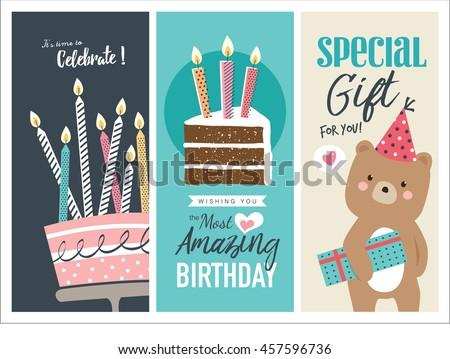 Set Birthday Greeting Cards Design Image Vectorielle De Stock Libre