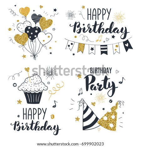 Set Of Birthday Greeting Cards Design Black And Gold Colors Hand Drawn Style