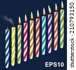 Set of birthday multicolored candles. New, extinct, burning candles. Vector illustration - stock photo