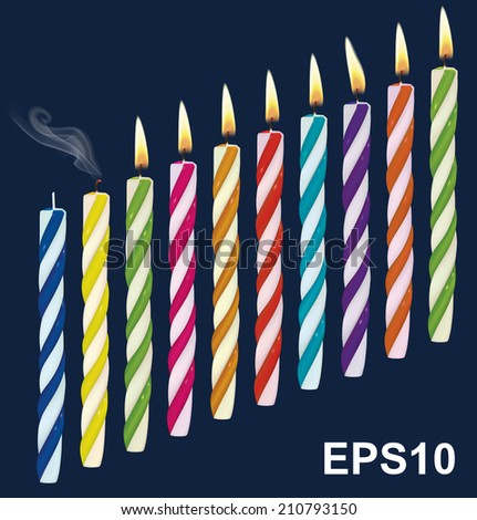 Set of birthday multicolored candles. New, extinct, burning candles. Vector illustration - stock vector