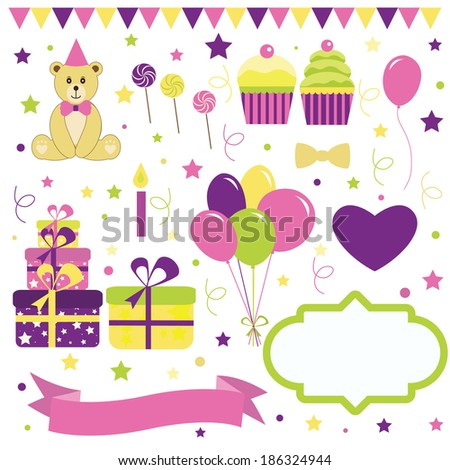 Set of birthday party elements  - stock vector