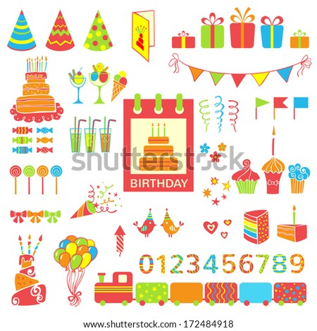 Set of birthday party elements. Vector illustration - stock vector