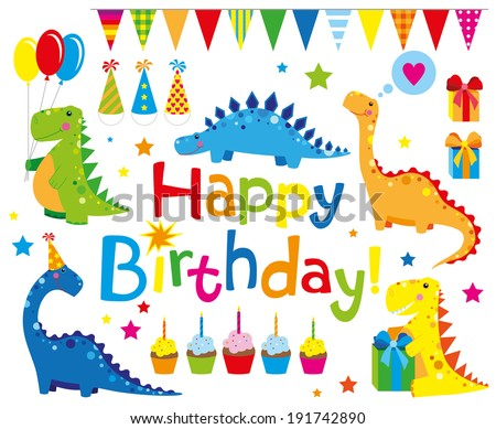 set of Birthday party elements with funny dinosaurs  - stock vector