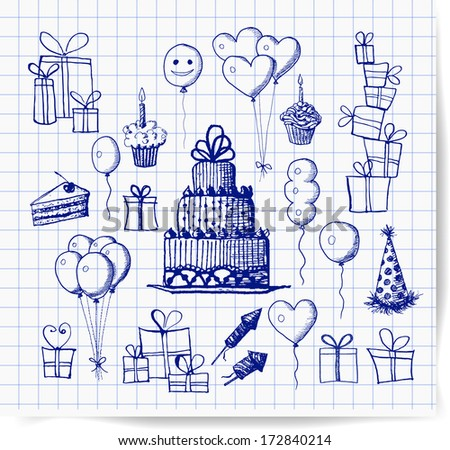 Set of birthday sketch objects in vintage style. Cakes, balloons, birthday gifts. Vector illustration.