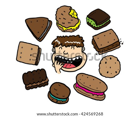 set of biscuit doodles - stock vector