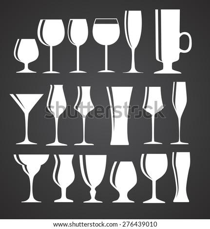 Set of Black Alcoholic Glass Silhouette Vector Illustration EPS10 - stock vector