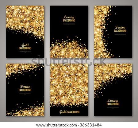 Set of Black and Gold Banners, Greeting Card or Flyers Design. Golden Dust. Vector Illustration. Happy New Year and Christmas Posters Invitation Template. Place for your Text Message. - stock vector