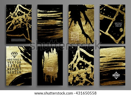 Set of Black and Gold Design Templates for Brochures, Flyers, Mobile Technologies, Applications, and Online Services, Typographic Emblems, Logo, Banners and Infographic. Abstract Modern Backgrounds.  - stock vector
