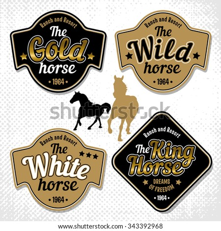 Set of black and gold labels with logos of horse's name and images of a silhouette horses. Vector illustration.