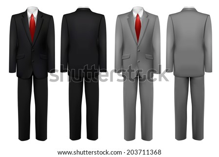 Set of black and grey suits. Vector. - stock vector