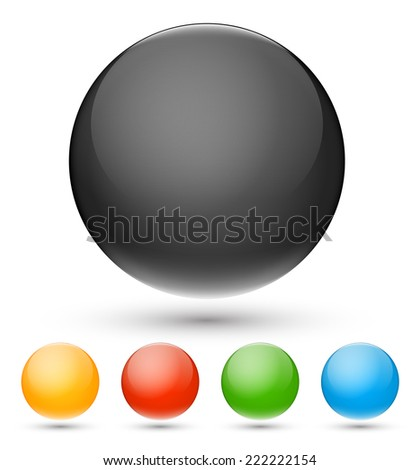 Set of black and other colors balls on white background, vector illustration - stock vector