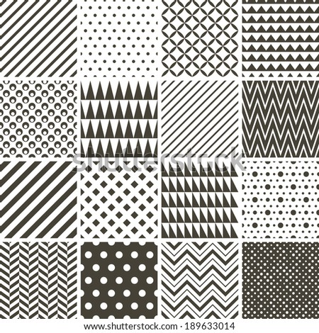 Set of black and white abstract seamless patterns - stock vector