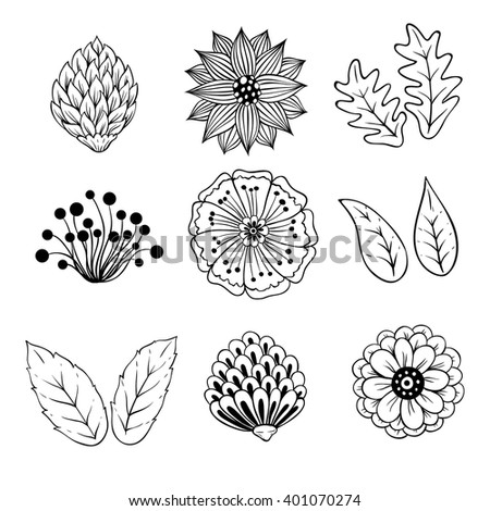 Set of Black and White Abstract Spring Floral and Leaf - stock vector