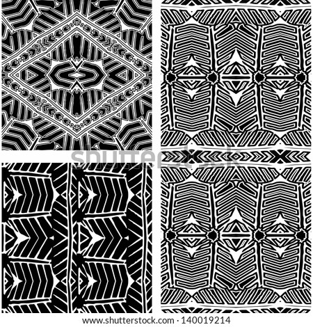 Set of black and white African patterns (seamlessly tiling).Seamless pattern can be used for wallpaper, pattern fills, web page background,surface textures. seamless background - stock vector