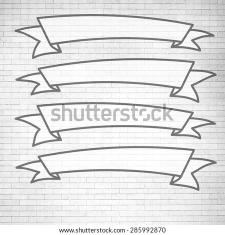 Set of black and white banners on white brick wall background. Vector illustration - stock vector